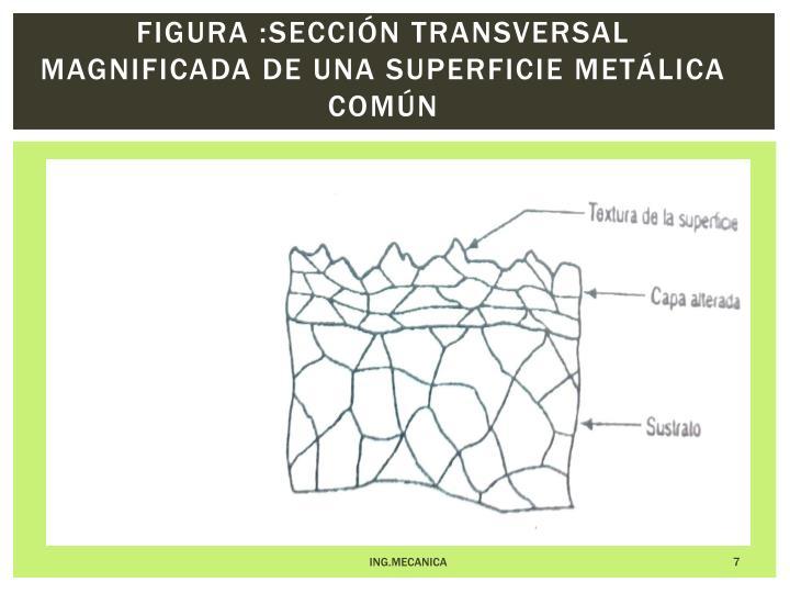 Figura :Sección transversal magnificada de una superficie metálica común
