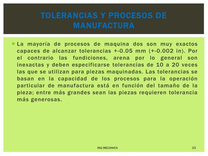 Tolerancias y procesos de manufactura