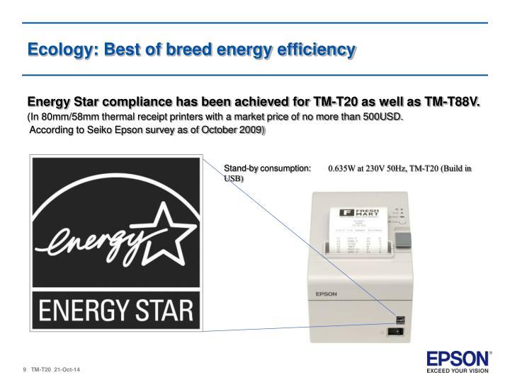 Ecology: Best of breed energy efficiency