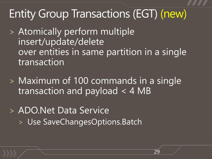 Entity Group Transactions (EGT)