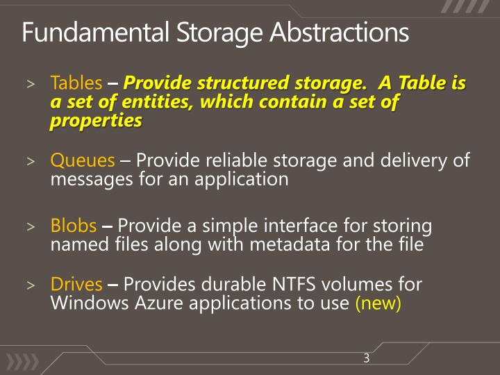 Fundamental storage abstractions