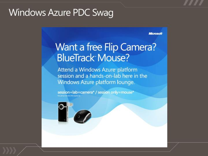 Windows Azure PDC Swag