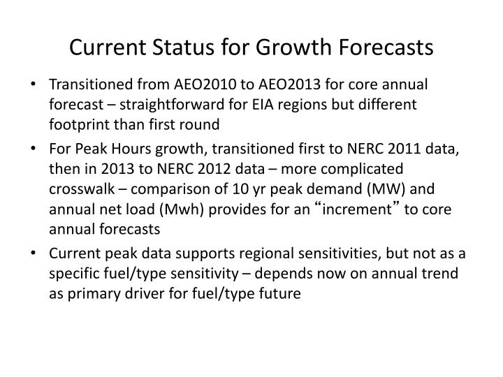 Current status for growth forecasts