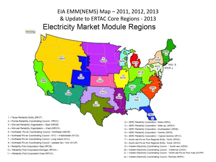 EIA EMM(NEMS) Map – 2011, 2012, 2013