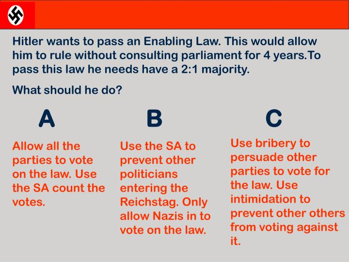 Hitler wants to pass an Enabling Law. This would allow him to rule without consulting parliament for 4 years.To pass this law he needs have a 2:1 majority.