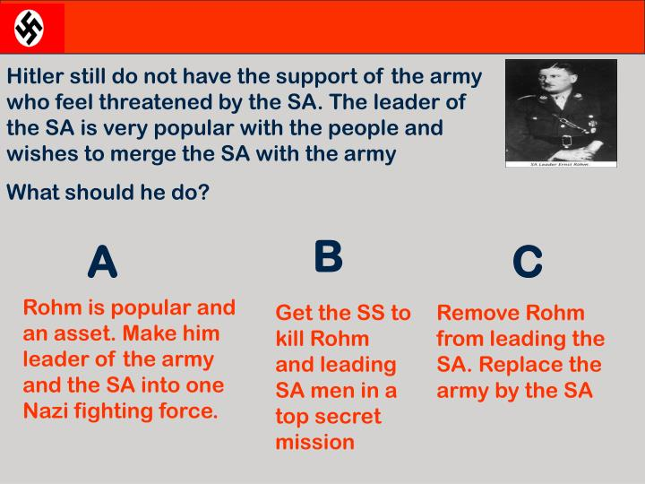 Hitler still do not have the support of the army who feel threatened by the SA. The leader of the SA is very popular with the people and wishes to merge the SA with the army