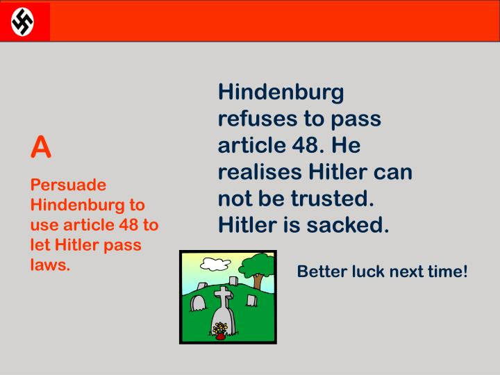 Hindenburg  refuses to pass article 48. He realises Hitler can not be trusted. Hitler is sacked.