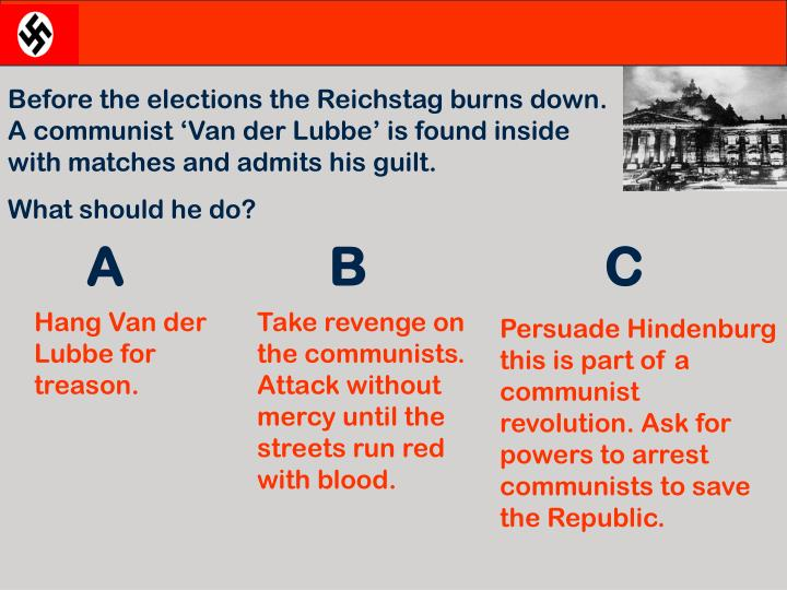 Before the elections the Reichstag burns down. A communist 'Van der Lubbe' is found inside with matches and admits his guilt.