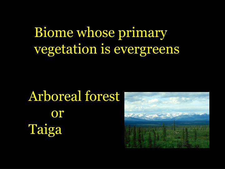 Biome whose primary
