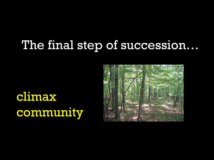 The final step of succession…