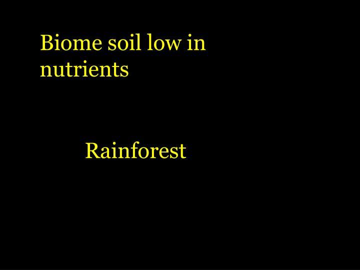Biome soil low in