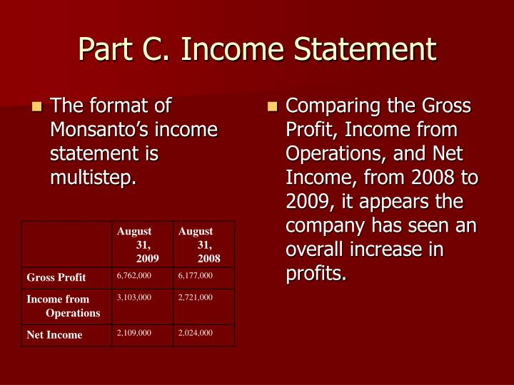 The format of Monsanto's income statement is multistep.