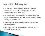 heuristics primary key