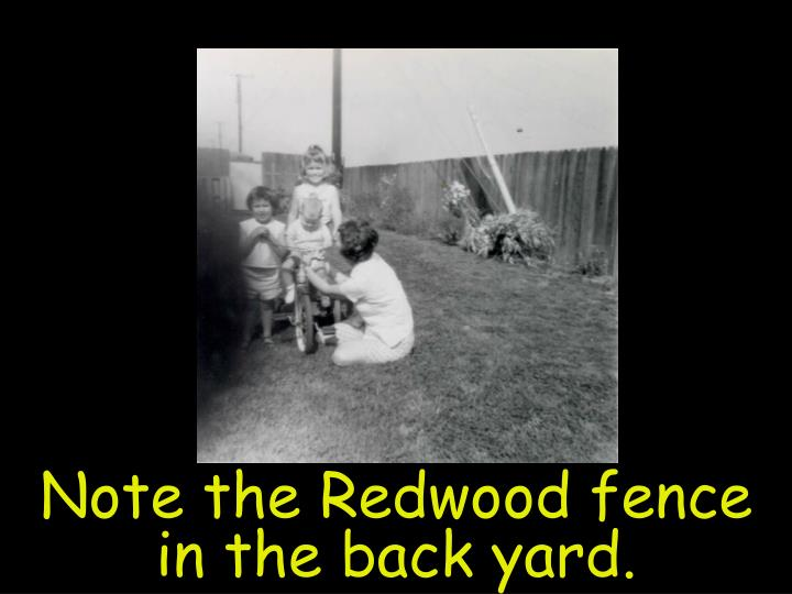 Note the Redwood fence in the back yard.