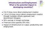 infrastructure and employment what is the potential impact in developing countries