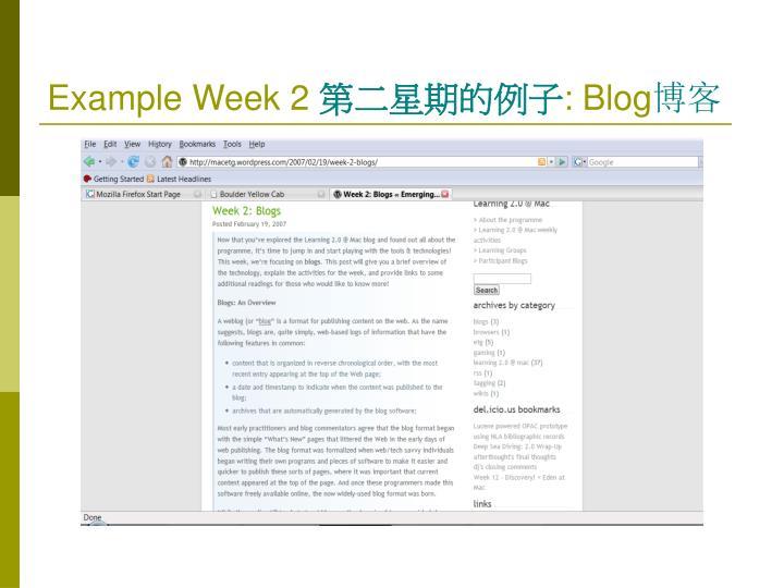 Example Week 2