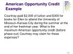 american opportunity credit example