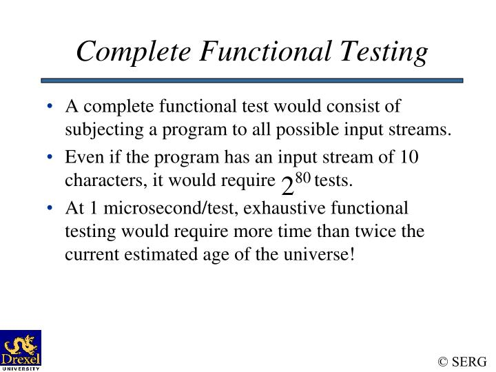 Complete Functional Testing