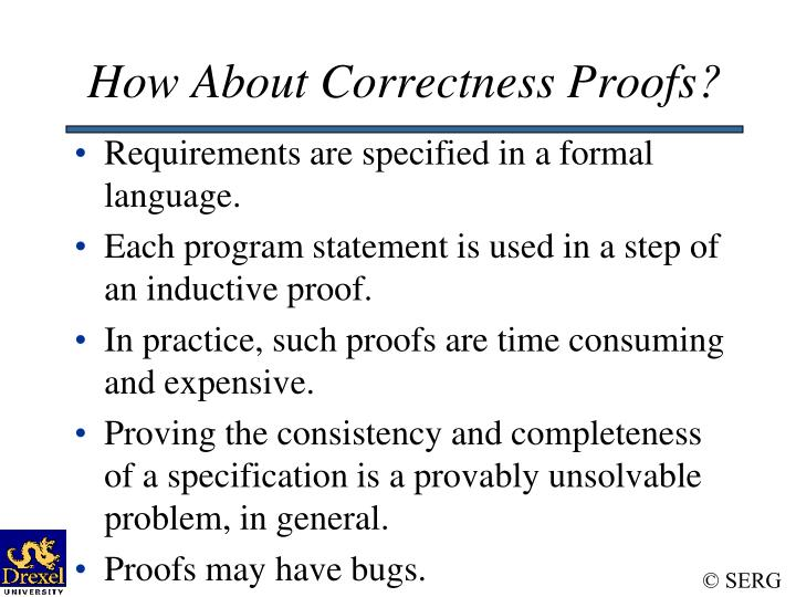 How About Correctness Proofs?