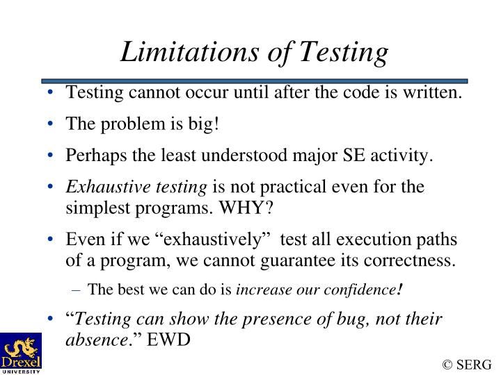 Limitations of Testing