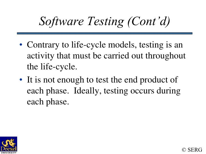 Software Testing (Cont'd)