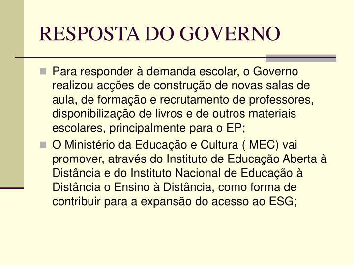 RESPOSTA DO GOVERNO