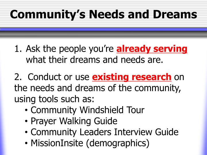 Community's Needs and Dreams