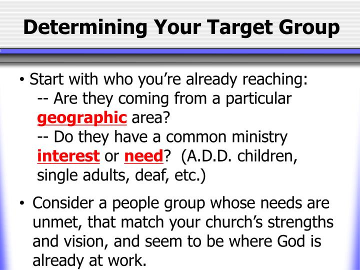 Determining Your Target Group