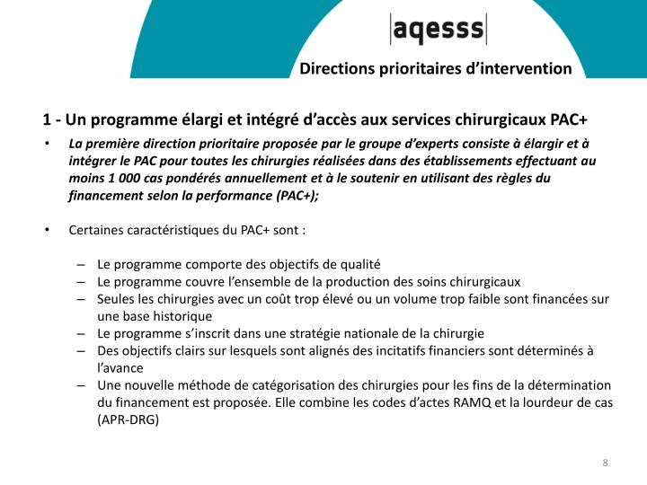 Directions prioritaires d'intervention