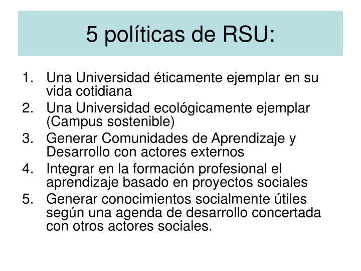 5 políticas de RSU: