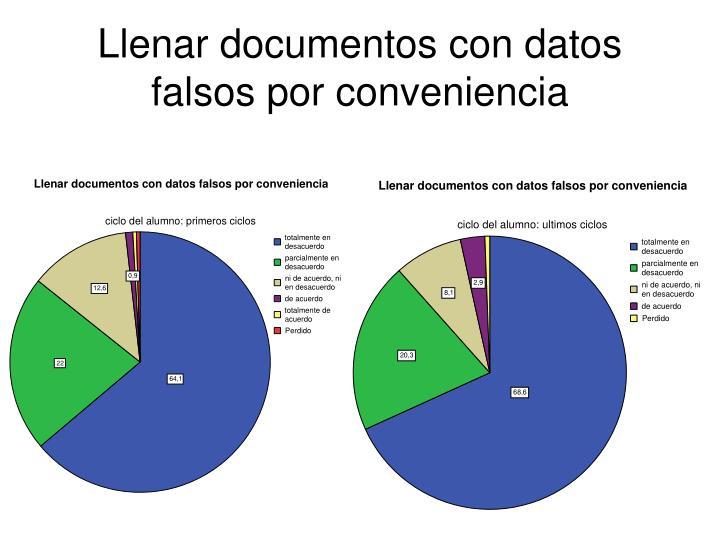 Llenar documentos con datos falsos por conveniencia
