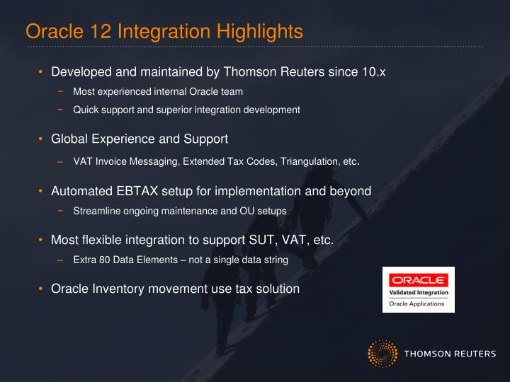Oracle 12 Integration Highlights