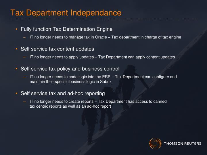 Tax Department Independance