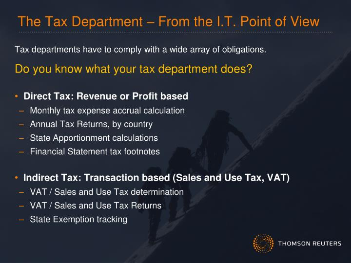 The Tax Department – From the I.T. Point of View