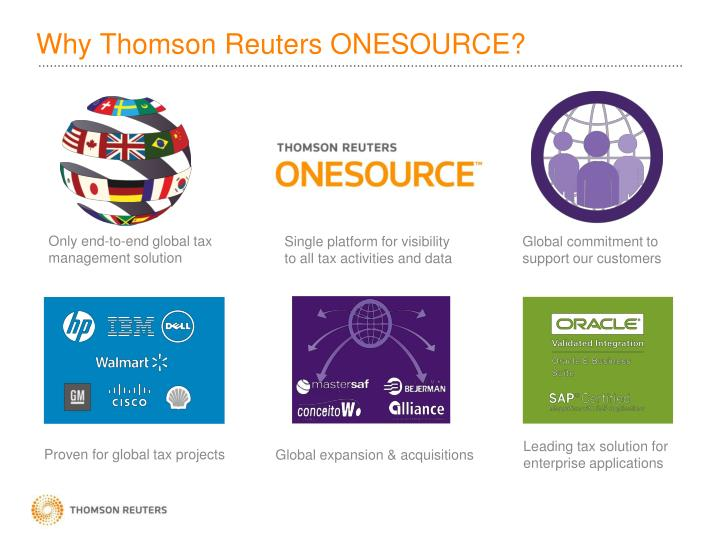 Why Thomson Reuters ONESOURCE?