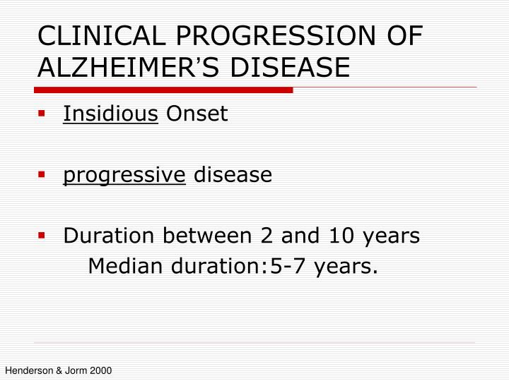 an overview of the progressive disease alzheimers disease Alzheimer's disease (overview) alzheimer's disease (ad) is the most common neurodegenerative disorder characterized by progressive memory loss in 1907, alois alzheimer was the first to report a case of intellectual deterioration with the histological findings of senile plaques and neurofibrillary tangles.