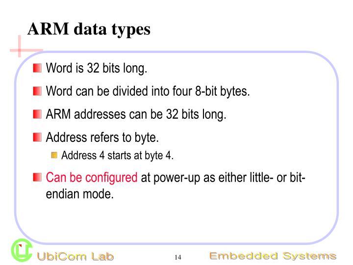 ARM data types