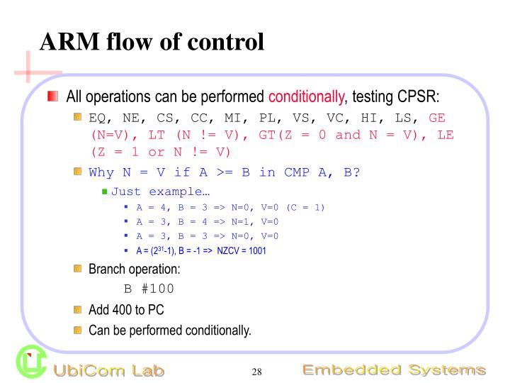 ARM flow of control