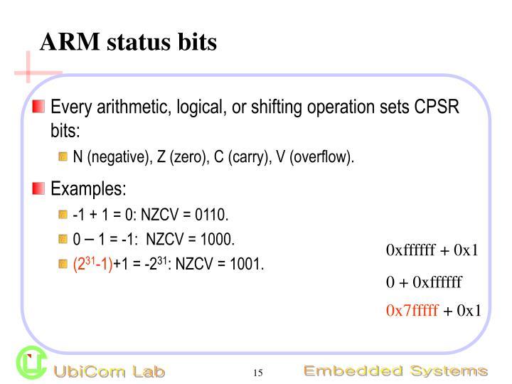 ARM status bits