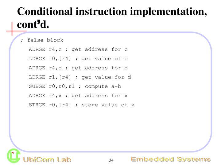 Conditional instruction implementation, cont