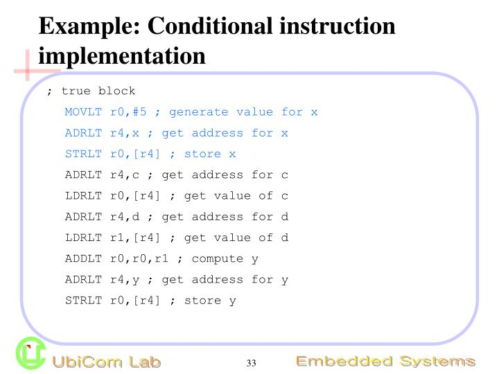 Example: Conditional instruction implementation