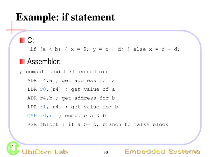 Example: if statement
