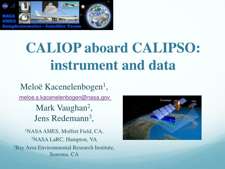 Caliop aboard calipso instrument and data