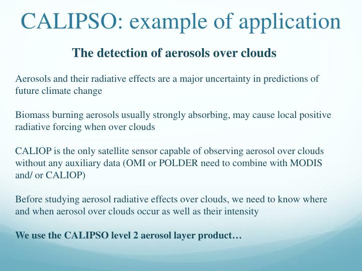 CALIPSO: example of application