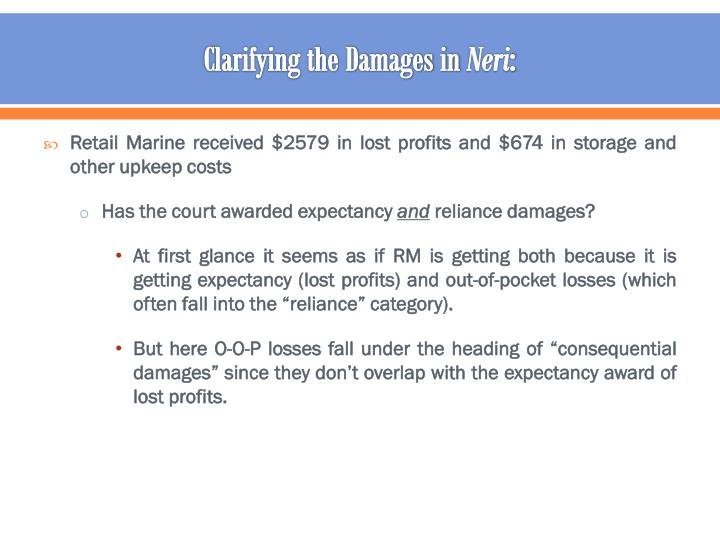 Clarifying the Damages in