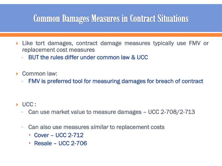 Common Damages Measures in Contract Situations