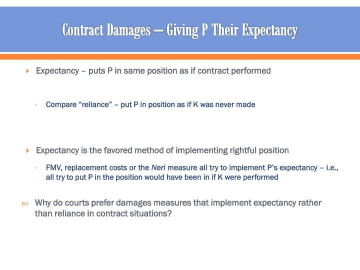 Contract Damages – Giving P Their Expectancy