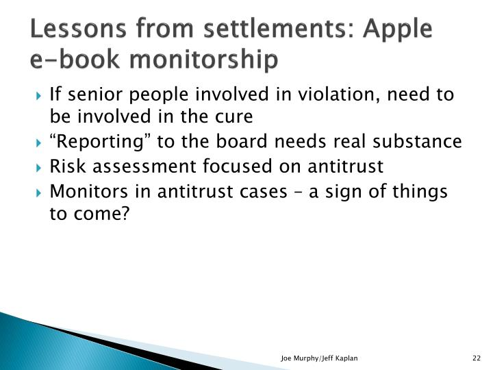 Lessons from settlements: Apple e-book monitorship