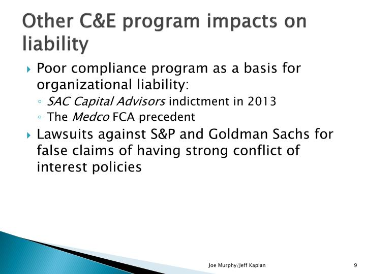 Other C&E program impacts on liability