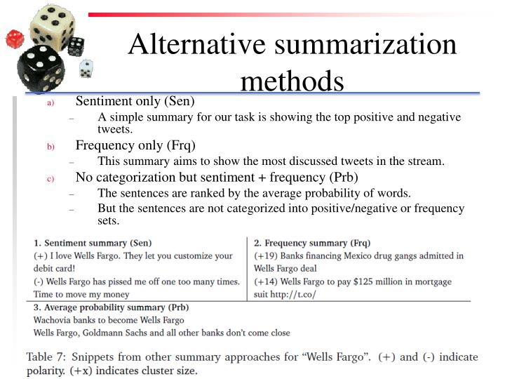 Alternative summarization methods